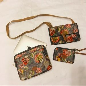🌷FOSSIL FLORAL CANVAS IPAD CASE/PURSE/COIN LOT🌷